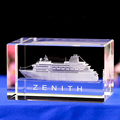 wholesale custom 3D laser engraving luxury cruise ship crystal model souvenior gift