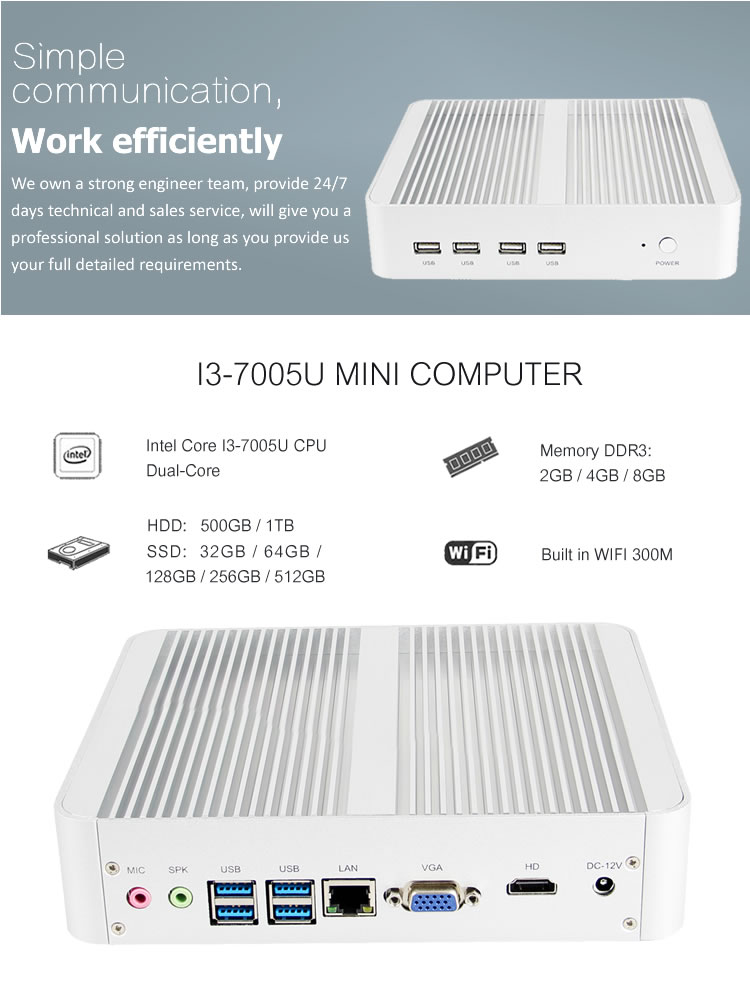 wholesale intel personal computer fanless mini pc