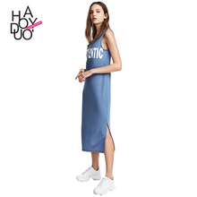 HAODUOYI New Fashion Summer Women Dress Blue Sleeveless Letter Print Dress Side Split Casual Lady Daily Dress for Wholesale