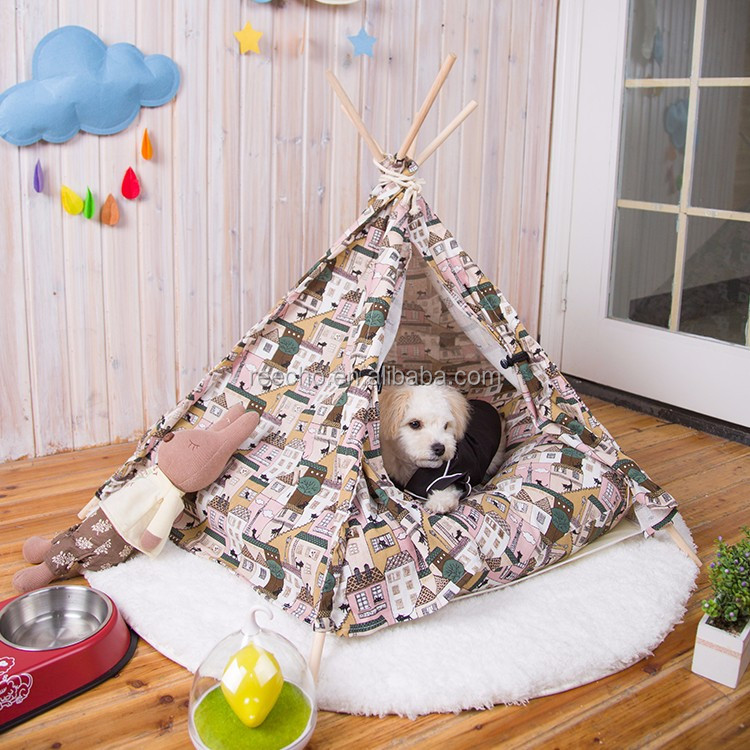 Canvas Fabric Nature Printing Wooden Pet Teepee Tent India Teepee Pet House