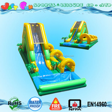 hottest inflatable swimming pool slip slide, large jungle themed inflatable slip and slide combo