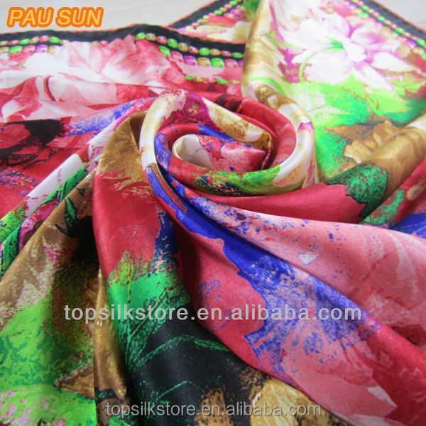 2017 new 100% silk scarf print fabric