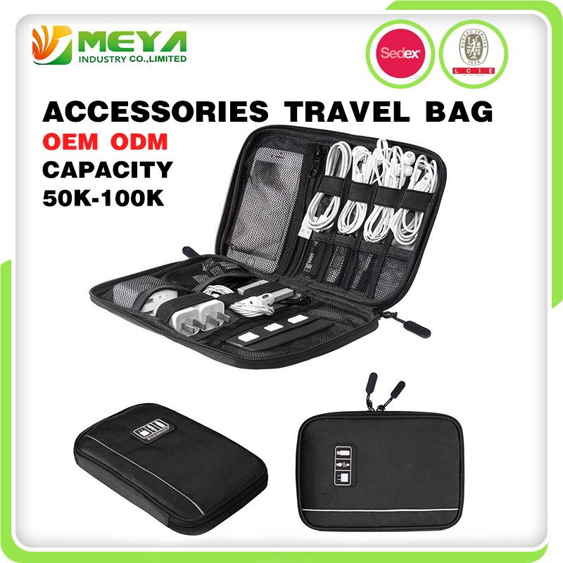 Hot Polyester Digital Storage Case Universal Cable Organizer Electronics Accessories Travel Bag for Mobile Cell Phone