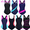 Custom 82% Nylon 18% Spandex Padded Sports Backless One Piece Swimsuit