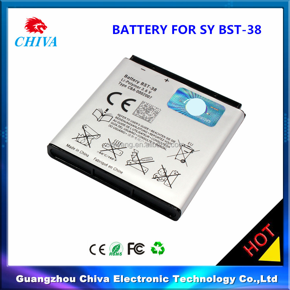 BST-38 replacement mobile phone battery for Sony Ericsson ,mobile phone battery for sony bst38 bst-38