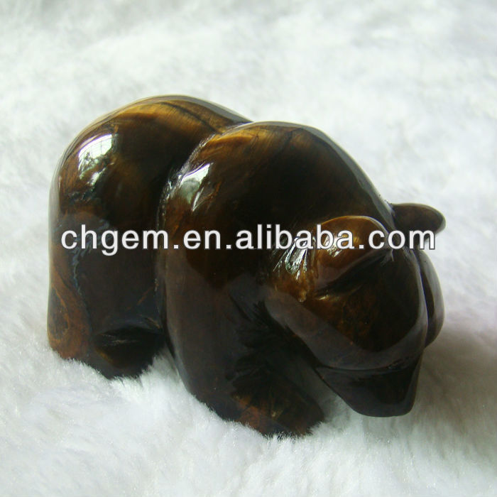 Tiger Eye Stone Bear Statue For Sale