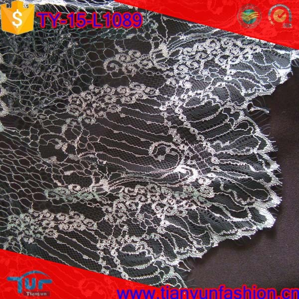 light textured lurex silver metallic pattern salloped guipure lace fabric
