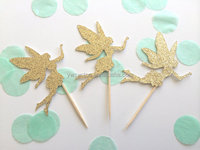 Cheap Gold Glitter Angel Cupcake Topper Party Cake Decorations