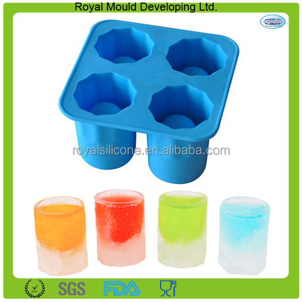 Custom designs 4-cups food grade silicon ice cube mold