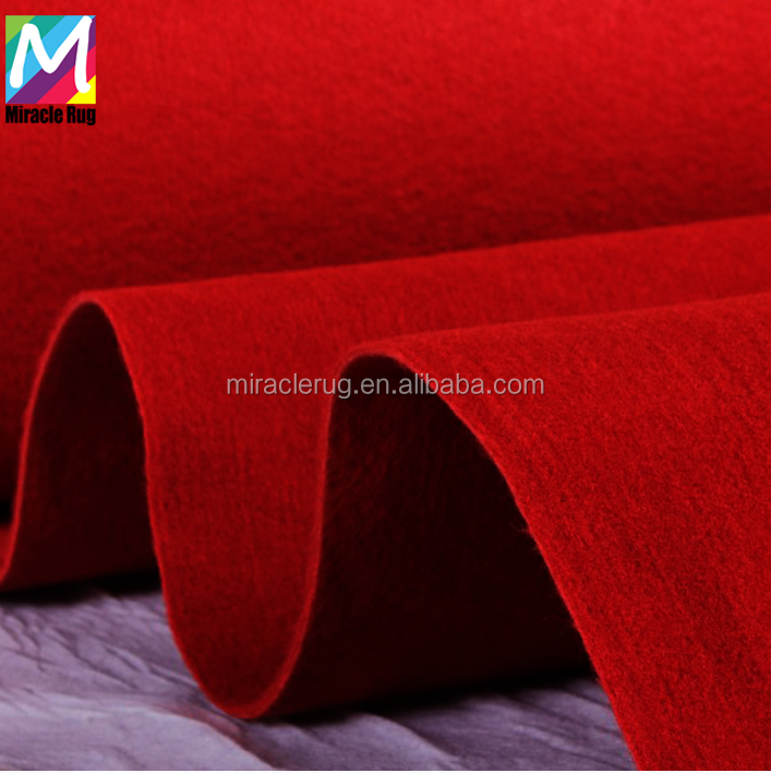 Cheap and Plain Needle Punched Red Carpet Wedding Polyester Carpet Roll