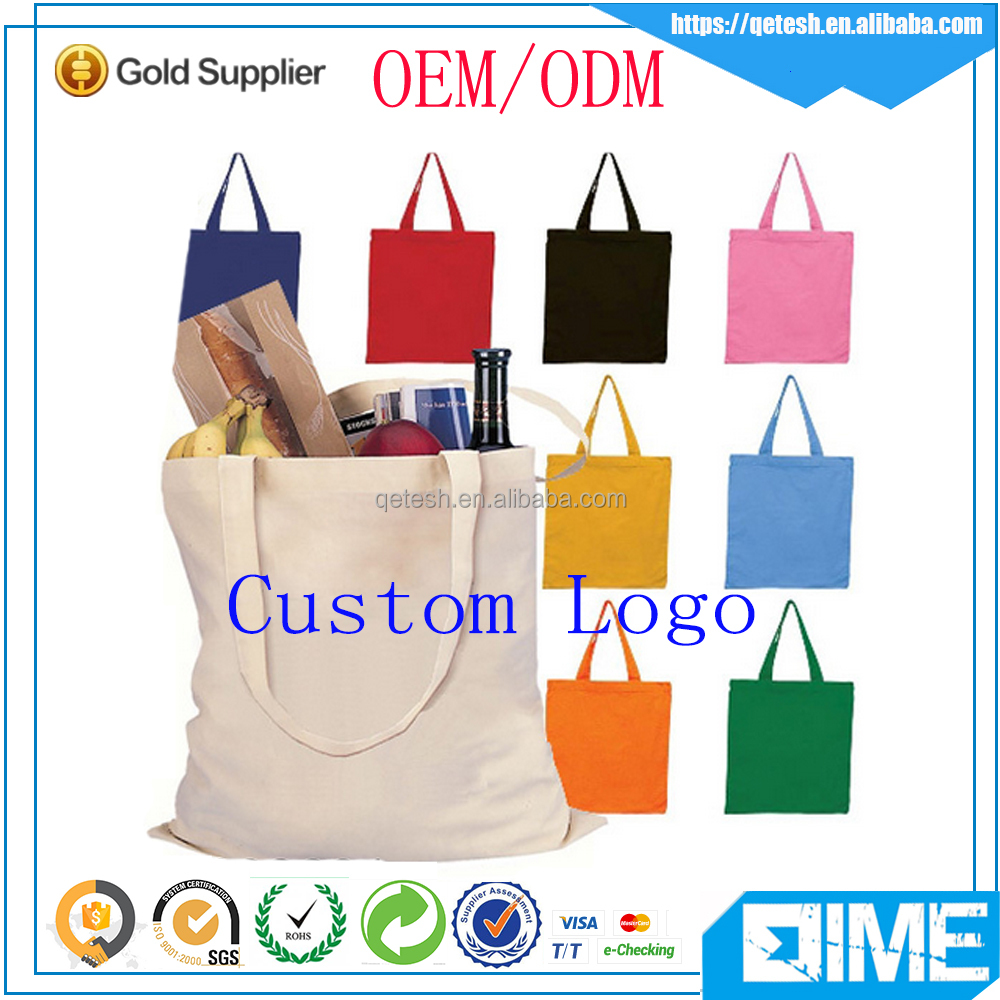 Customized fashion style 100% organic cotton canvas double handles tote bag