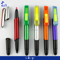 4 in 1 functional memo pad sticky note highlighter ball pen with rubber tip