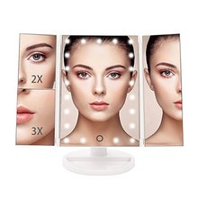 3 Sided AAA battery usb cable double magnifying glass plastic table makeup vanity mirror with 21 led lights