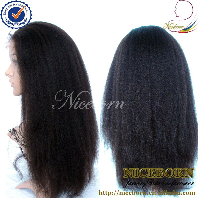 5A grade kinky straight natural hair free style virgin mongolian hair full lace wig