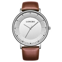 LONGBO 80238 Normal Japan Movt Quartz Watch Stainless Steel Bezel Leather Strap Businessman Watch Quarzt Wristwatch For Lovers