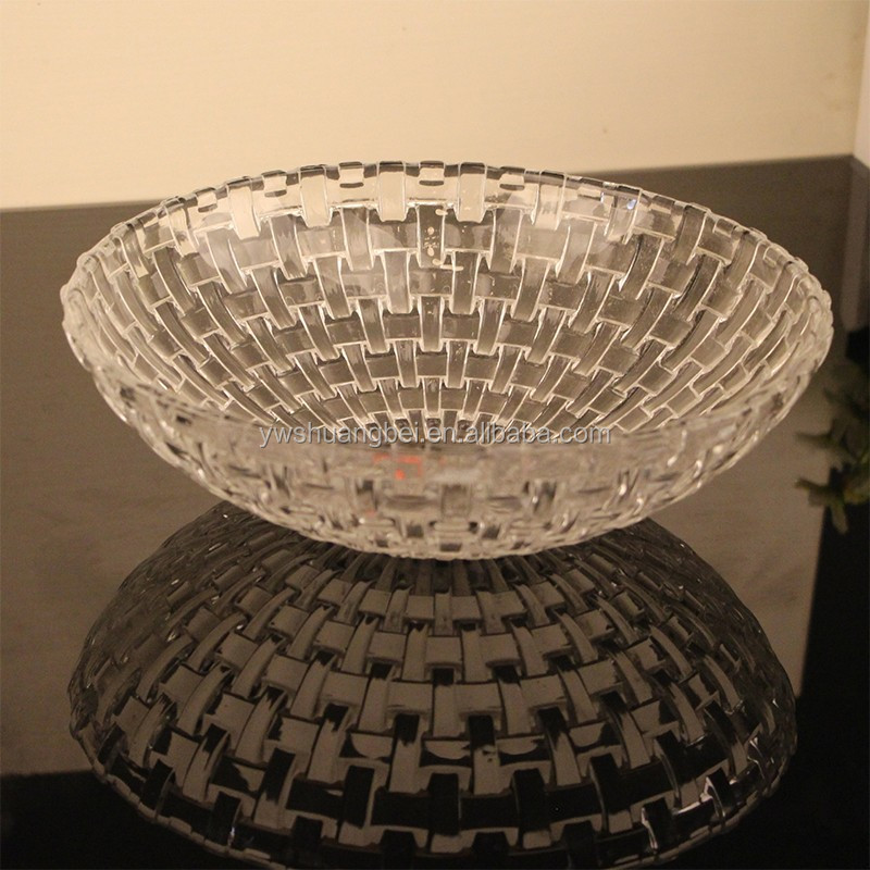 promotion basket weave clear round salad/fruit big glass bowl cheap price