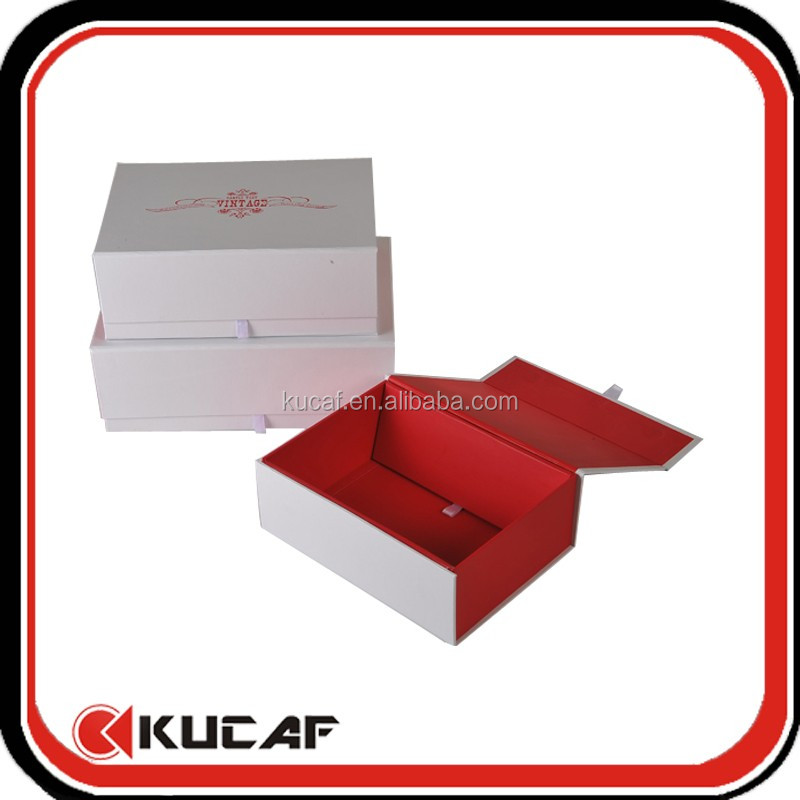 Custom Flat Folding Gift Paper Box with Silk Ribbon