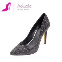 women high heels genuine leather pumps shoes factory guangzhou with glitter upper