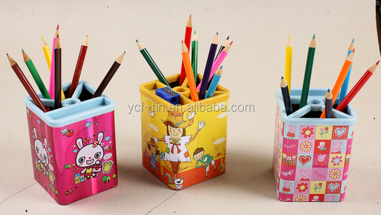 Hot Sale Cheap Square Tin Pen Holder With Pen