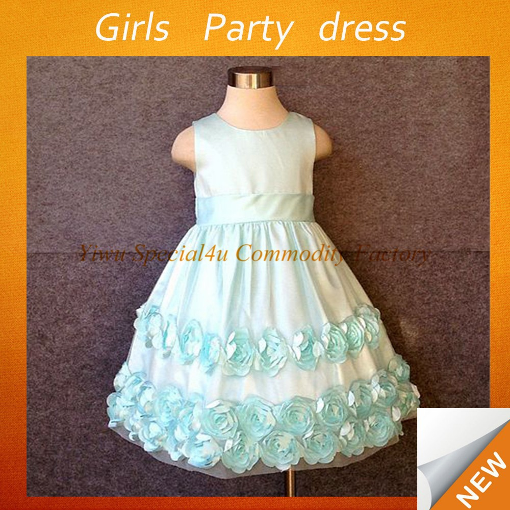 2015 hot sale one piece the newest party wear dresses for girls sleeveless puffy dresses for kids SPSY-762