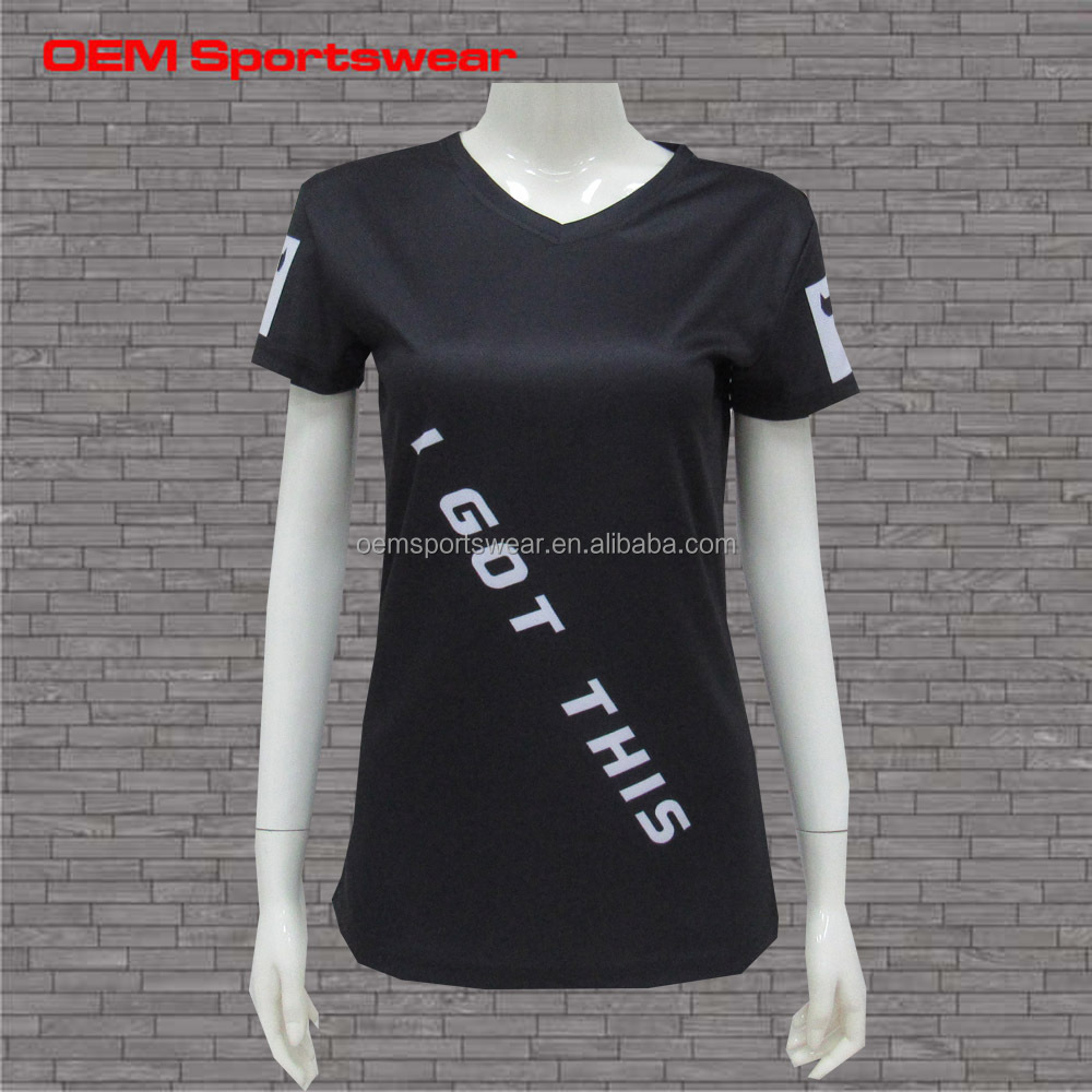 Black white letters sublimated women v neck wholesale t shirts