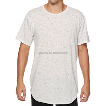Factory Bulk Men Snow Dot Printed Cotton longline Curved Hem Tall Tee Shirt