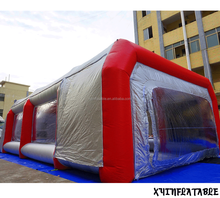 2017 Hot sale red n silver color inflatable spray booth, inflatable paint booth for car