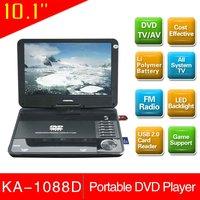 10 Kid DVD player high light piano paint built in safe Li-polymer battery 1 year warranty leadstar factory KA-1088D