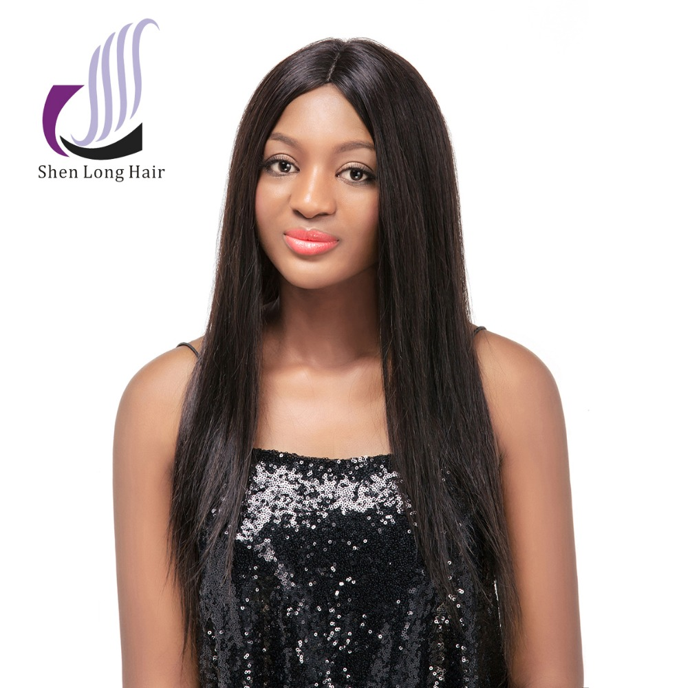 Stock Best Quality 10~30 inch Silky Straight Wavy 100% Human Hair Wig Brazilian Human Hair wig Middle Part Lace Front Wig