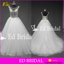 2018New coming Boat Cap sleeve Lace appliqued Ball gown Wholesale Open back Western style wedding dress