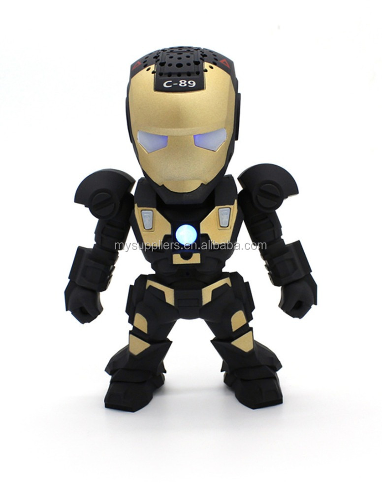 2017 new design cartoon iron man robot wireless wireless mini Portable speaker mini portable light card audio