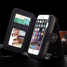 Mirror Wallet Phone Case For iPhone 5 5S SE 6 6S 6 Plus 6S Plus Multi-function Pouch Leather Hard Back Cover Wrist Holder
