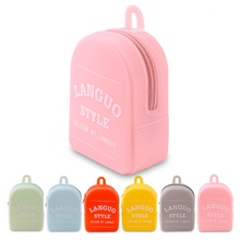 Custom Logo Printed Mini Backpack Coin Wallet Silicone small backpack purse