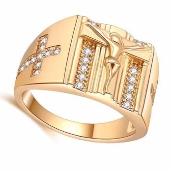 RI00192 Yiwu WT wholesale latest 14k hip hop style designs gold plating jesus portrait gold rings