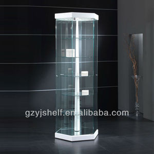 Hot Sale Aluminum/wood Hexagon Revolving Glass Display Showcase