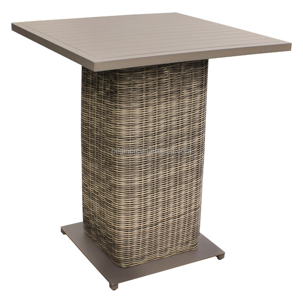 Outdoor rattan bar counter with faux wood effects aluminium top high bistro table