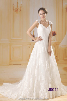 luxury heavy beaded keyhole cap sleeves A-line lace wedding dresses with crystal 2016 guangzhou