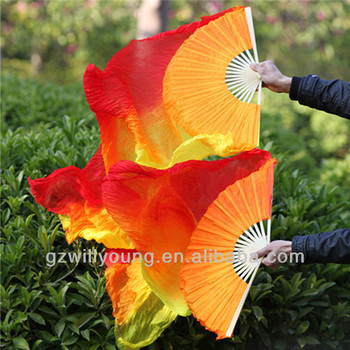 RED/ORANGE/YELLOW in Vertical, Belly Dance 100% Real Silk Fan Veils, 1.8M, Silk Veils