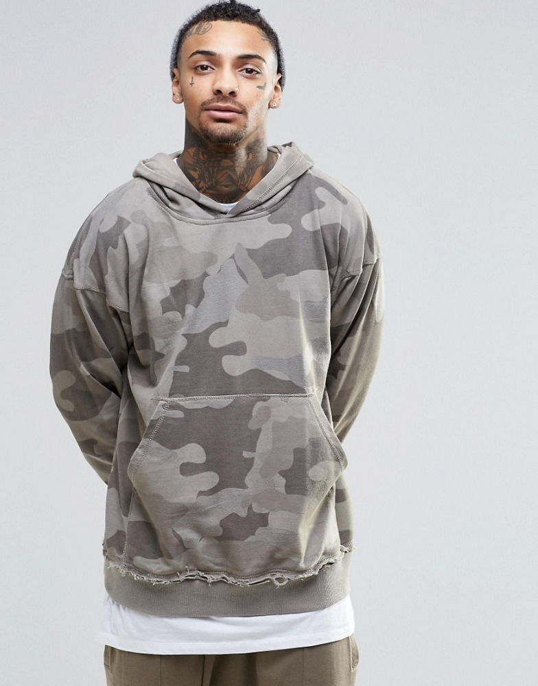 Men's New Fashion Grey Camo Hoodie Thick Franch Terry Hoodie wholesale