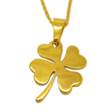 Olivia Vintage Gold Plated Stainless Steel Shining Charming Lucky Flower Pendant Four Leaf Clover Necklace