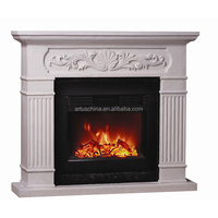 Ivory Carved Front Polystone Mantel Electric fireplace
