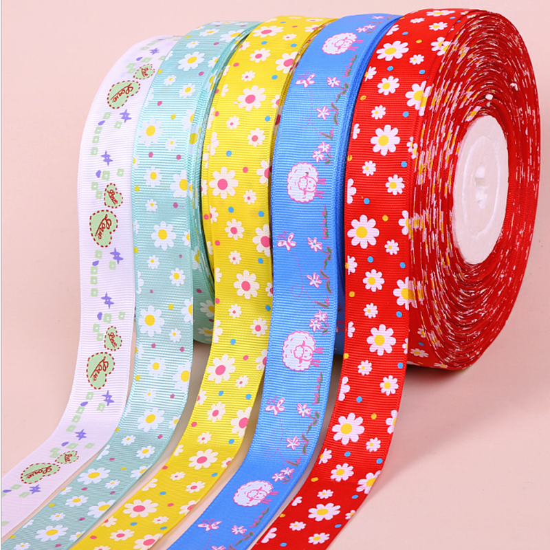 "Custom wholesale p 3"" polyester printed logo grosgrain Ribbon"
