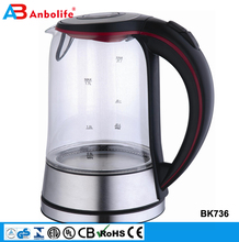 ETL UL certification new innovation 1.7L keep long warm whistling tea electric glass kettle with heating element