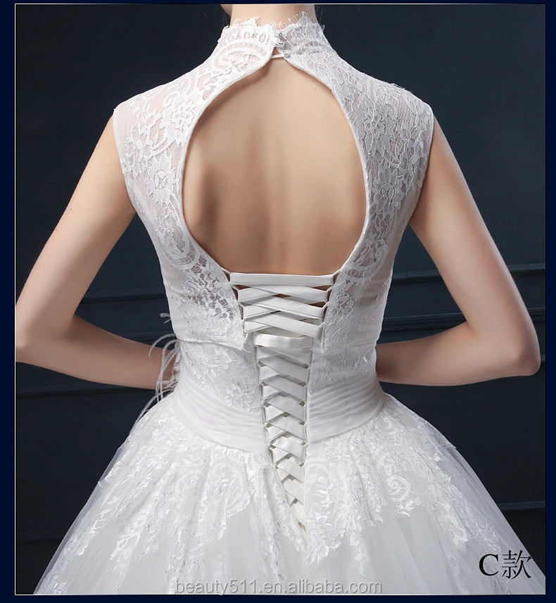 Latest Design Appliqued A-line High Collar Sleeveless Floor-length Bridal Gown Lace Wedding dresses WD1864