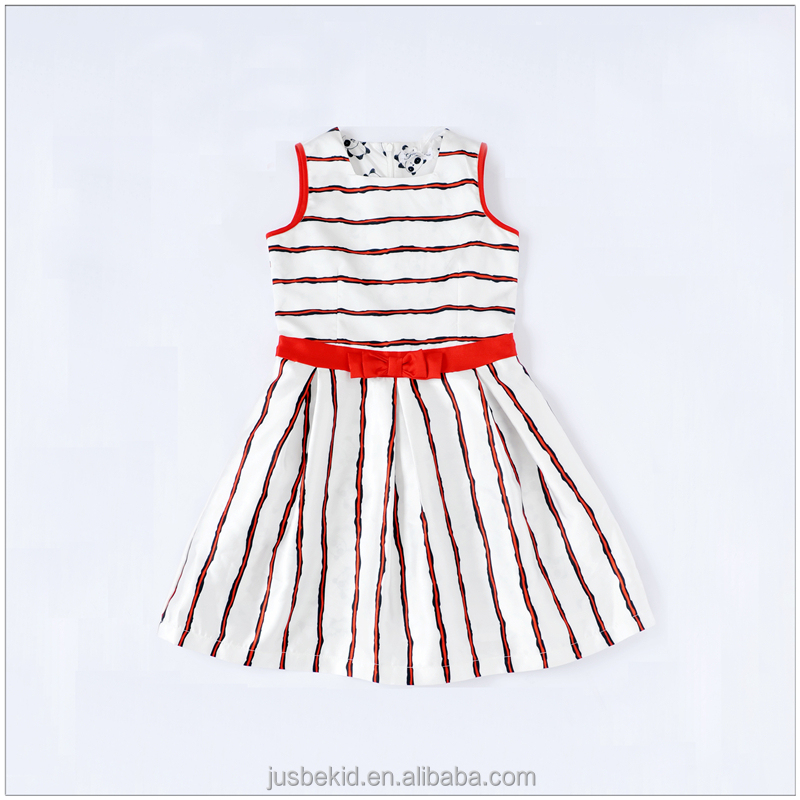 Fashion Girls Without Sleeve Dress Striped Printed Baby Girls Clothing