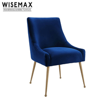 Luxury Design Nordic Style Restaurant <strong>Furniture</strong> High Quality Rose Gold Metal Leg Soft Velvet Dining Room Chair