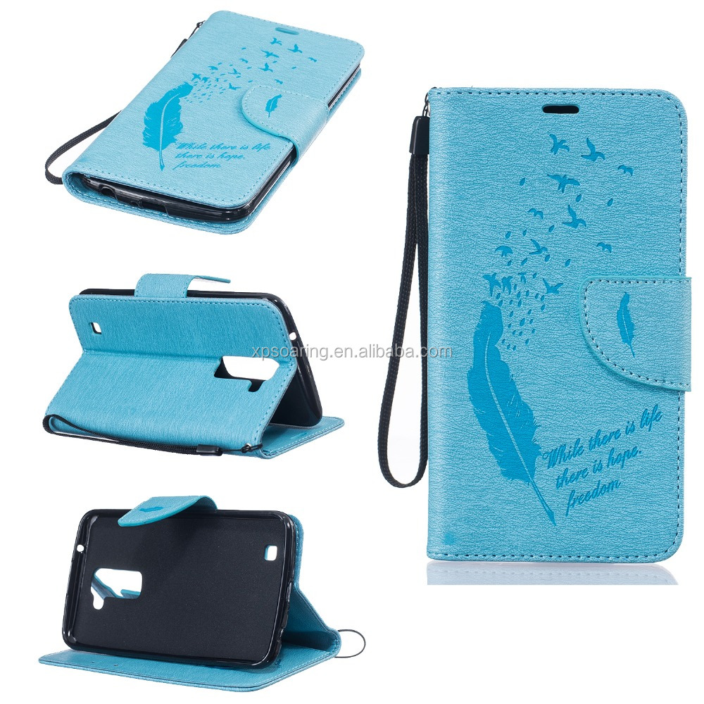 PU Leather flip stamp mark flower insertcard phone cover case for LG <strong>K10</strong>