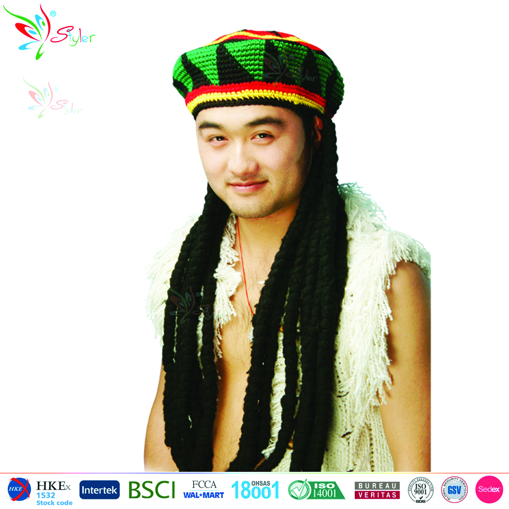 Hot selling style synthetic wig handmade knitted hat with long black men dreadlock wig