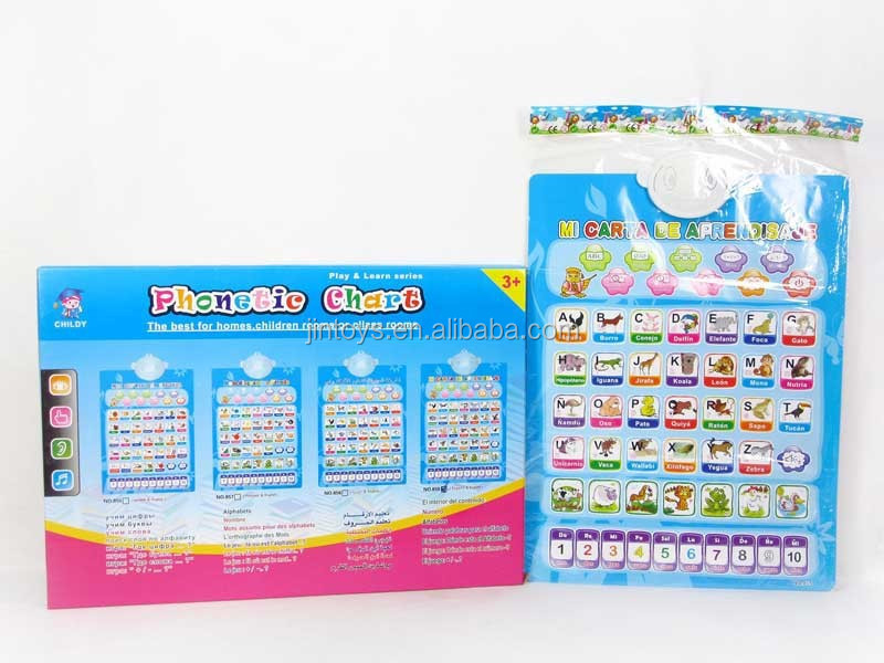 New product kids educational toy two-sided English and Spanish phonetic chart with sound AL016917