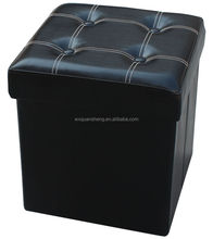 Living room furniture Black PU folding storage ottoman with buttons
